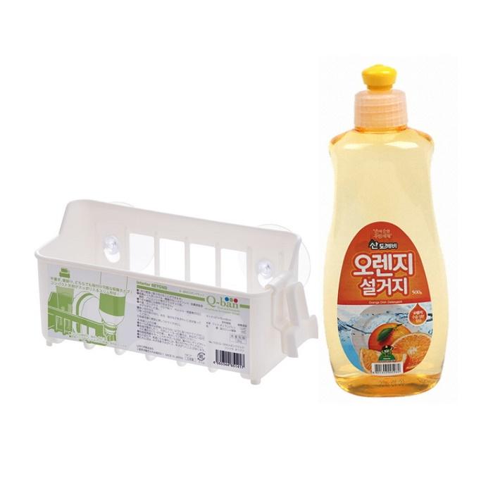 Combo Giá nhựa treo đồ đa dụng có núm hít chân không + Nước rửa chén Sandokkaebi - hương cam 500g