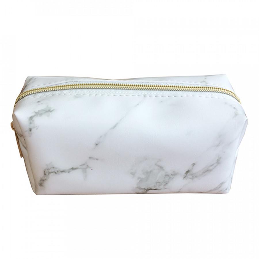Women Travel Portable Cosmetic Pouch Marble Pattern Design Zipper Storage Bag Organizer Makeup Brushes Bag PU Handbag