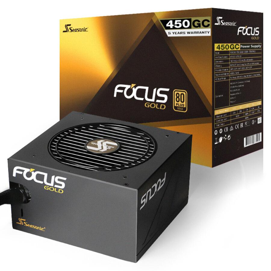 Ổ Nguồn Seasonic FOCUS 450W 450GC (80PLUS gold / 140mm size / 12cm Quạt Bảo Hành 5 Năm)