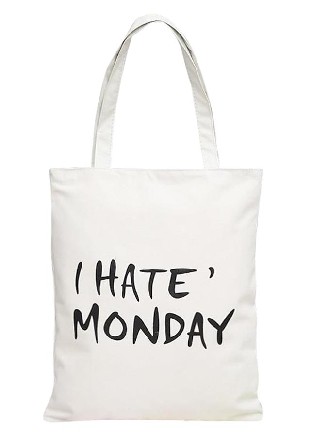 """Túi Tote Vải Canvas In Chữ """"I Hate Monday"""" T026-E - 1243476 , 8050223792550 , 62_7947432 , 150000 , Tui-Tote-Vai-Canvas-In-Chu-I-Hate-Monday-T026-E-62_7947432 , tiki.vn , Túi Tote Vải Canvas In Chữ """"I Hate Monday"""" T026-E"""