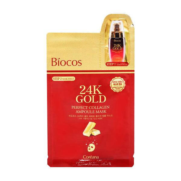 Mặt Nạ 2 Bước Chiết Xuất Từ Vàng 24k Giúp Trẻ Hóa Làn Da Coreana Biocos 24K Gold Perfect Collagen Ampoule Mask 26ml - 760831 , 1147216655675 , 62_8386764 , 60000 , Mat-Na-2-Buoc-Chiet-Xuat-Tu-Vang-24k-Giup-Tre-Hoa-Lan-Da-Coreana-Biocos-24K-Gold-Perfect-Collagen-Ampoule-Mask-26ml-62_8386764 , tiki.vn , Mặt Nạ 2 Bước Chiết Xuất Từ Vàng 24k Giúp Trẻ Hóa Làn Da Coreana Bioco