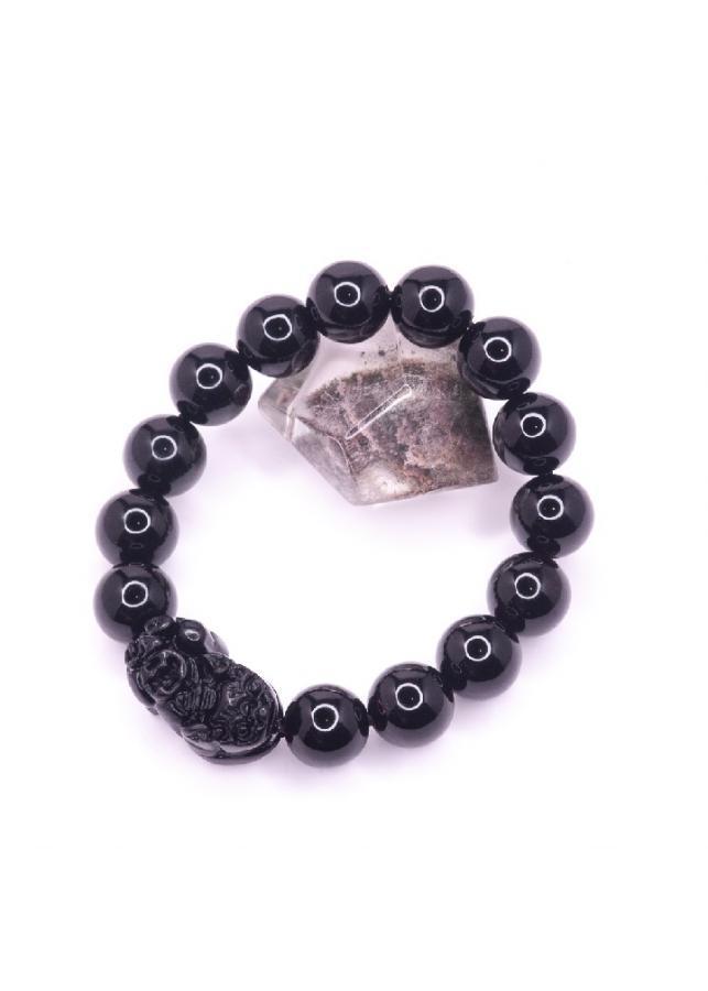 Vòng tay đá Obsidian 12mm mix Tỳ hưu BRBO12MT01 - vietGemstones