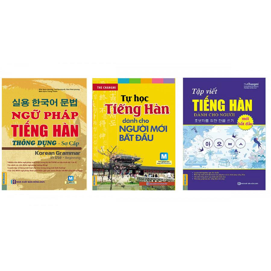 Combo tự học tiếng hàn cho người mới học gồm ngữ pháp tiếng hàn thông dụng sơ cấp, tự học tiếng hàn cho...