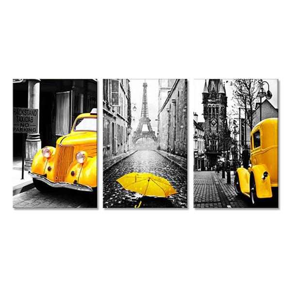 "Bộ 3 Tranh Treo Tường Scandinavian ""Umbrella And Car"" - W270"