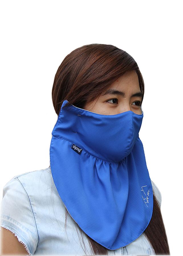 Khẩu trang lớn chống nắng UPF50+ vivid blue Zigzag MAS00405