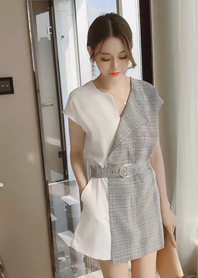 Đầm suông nâu caro phối trắng kèm nịt eo ( dưới 55kg ) XMM37