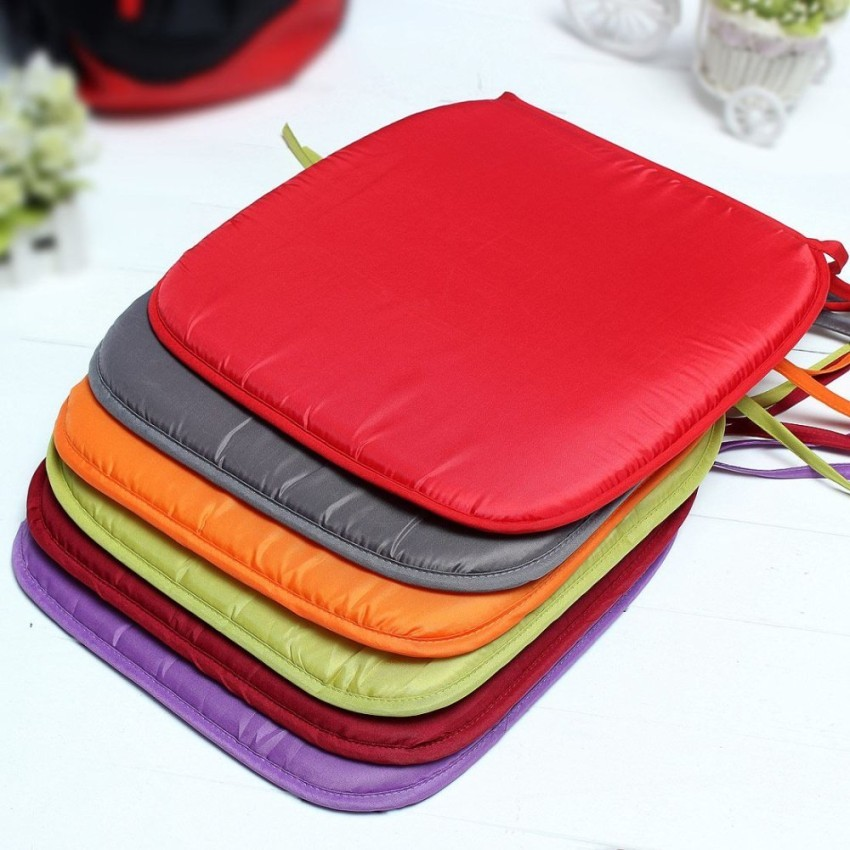 Solid Color Soft Comfort Seat Mat Lumbar Pillow Office Chair Seat Cushion Bolster Buttocks Tie On Pad 37 x 37 x 2cm