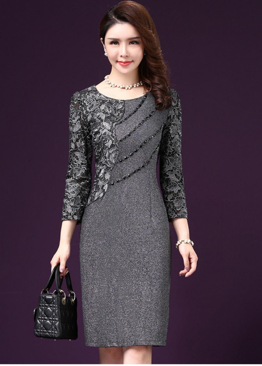 Đầm suông trung niên đẹp kim sa sang trọng quý phái Quảng Châu D331