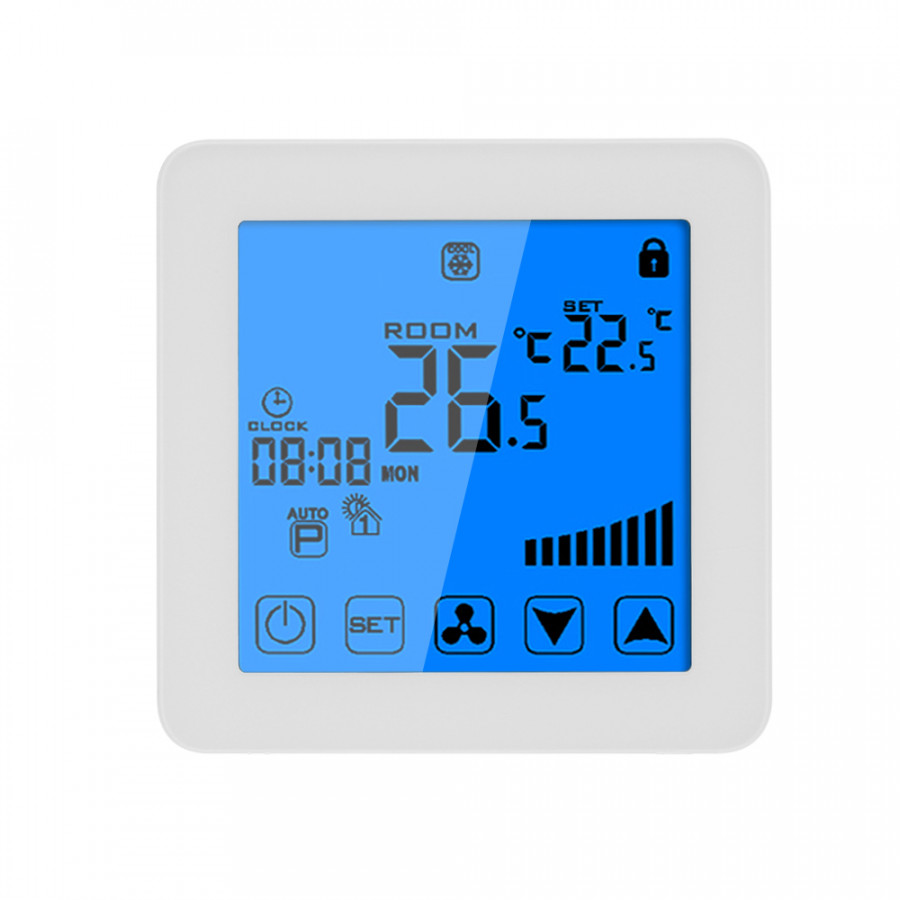 200-230V Programmable Thermostat Air Conditioner 2-pipe 4-pipe Temperature Controller LCD Touch Screen Air Heating
