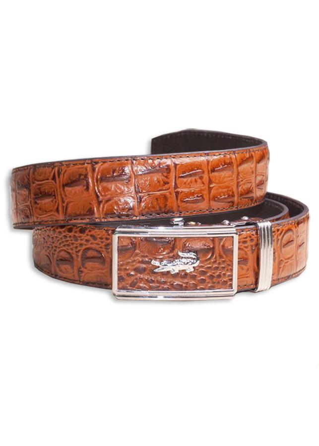 Thắt lưng da bò 3 lớp dập vân cá sấu màu nâu cam