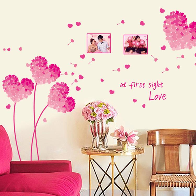Decal dán tường hoa tim hồng - SS101