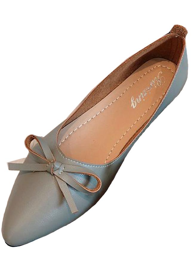 Giày búp bê mỏ nhọn da mềm có nơ xinh xắn-Xám 306