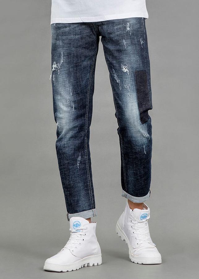 Quần Jeans Nam Slim Fit Họa Tiết Khối Đen 3012