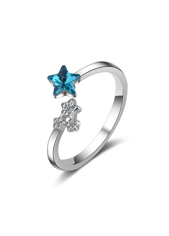 Nhẫn bạc nữ Ánh sao xanh pha lê