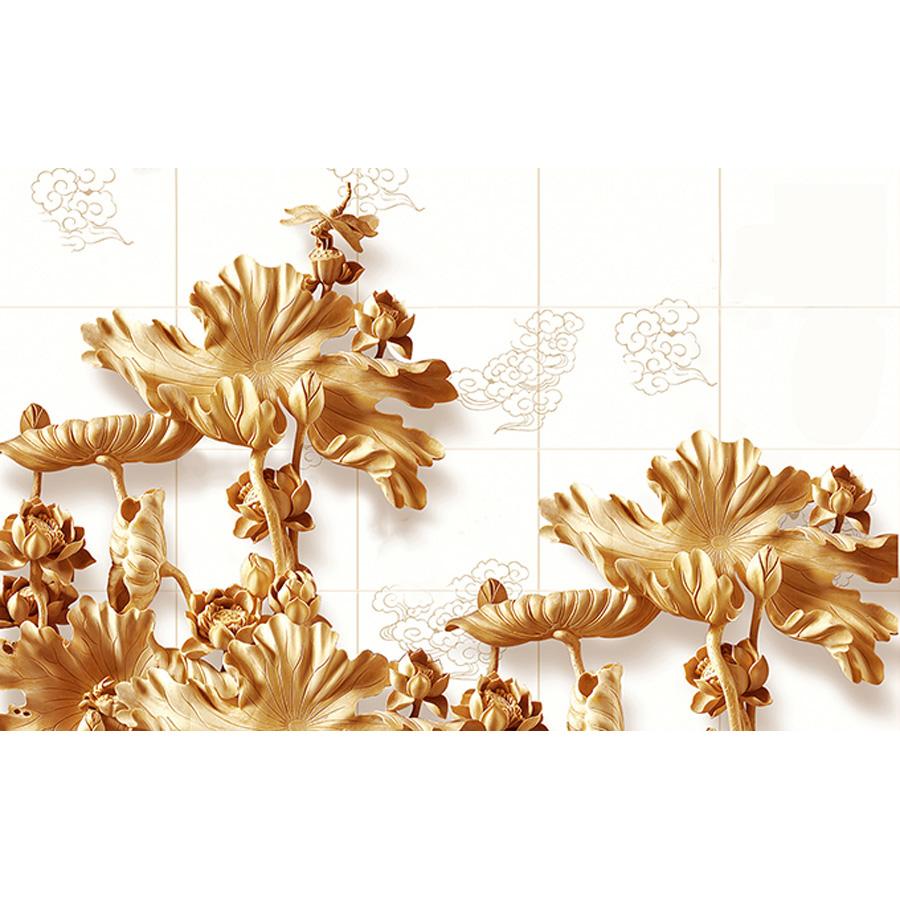 Tranh dán tường phong thủy hoa sen cá chép 3d 107