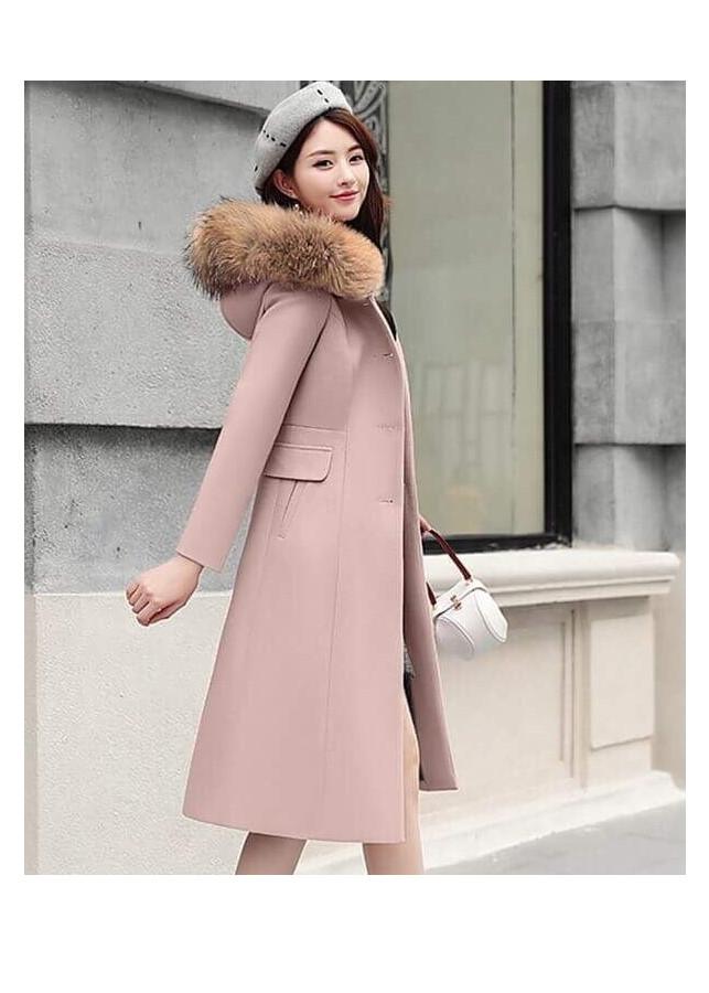 Áo khoác dạ dáng dài có nón phối lông thời trang