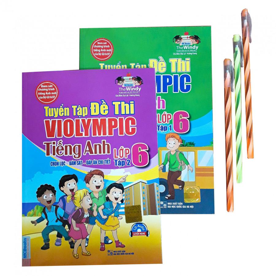 Combo Tuyển tập đề thi Violympic Tiếng Anh lớp 6 + 3 bút nến dài