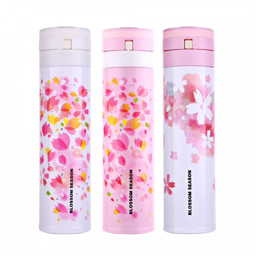 Travel Bottle Thermo Stainless Steel 450ml Cherry Blossom Double Wall Drink