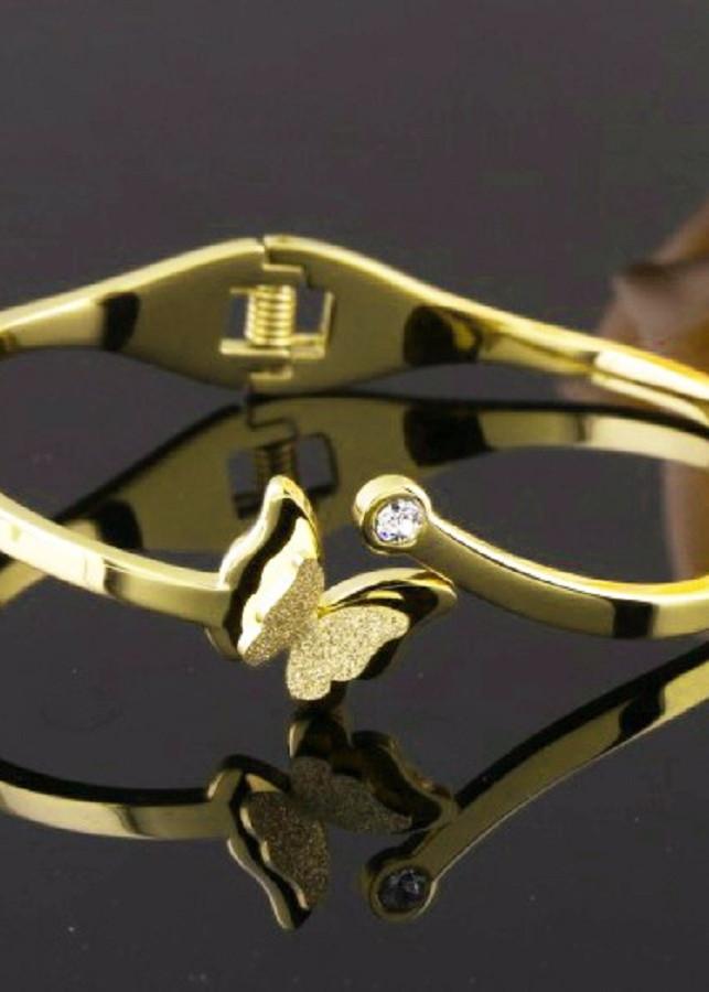 Vòng tay bướm phun cát sang trọng Titan vĩnh viễn không đen
