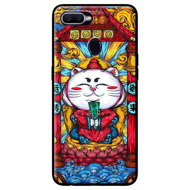 Ốp in cho Oppo A7 Mèo May Mắn Trắng - Hàng chính hãng