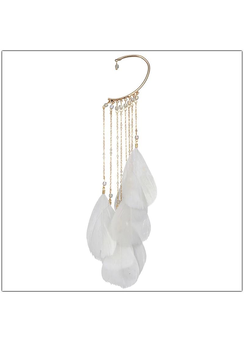 Hoa tai kẹp một bên – Lông vũ (trắng)