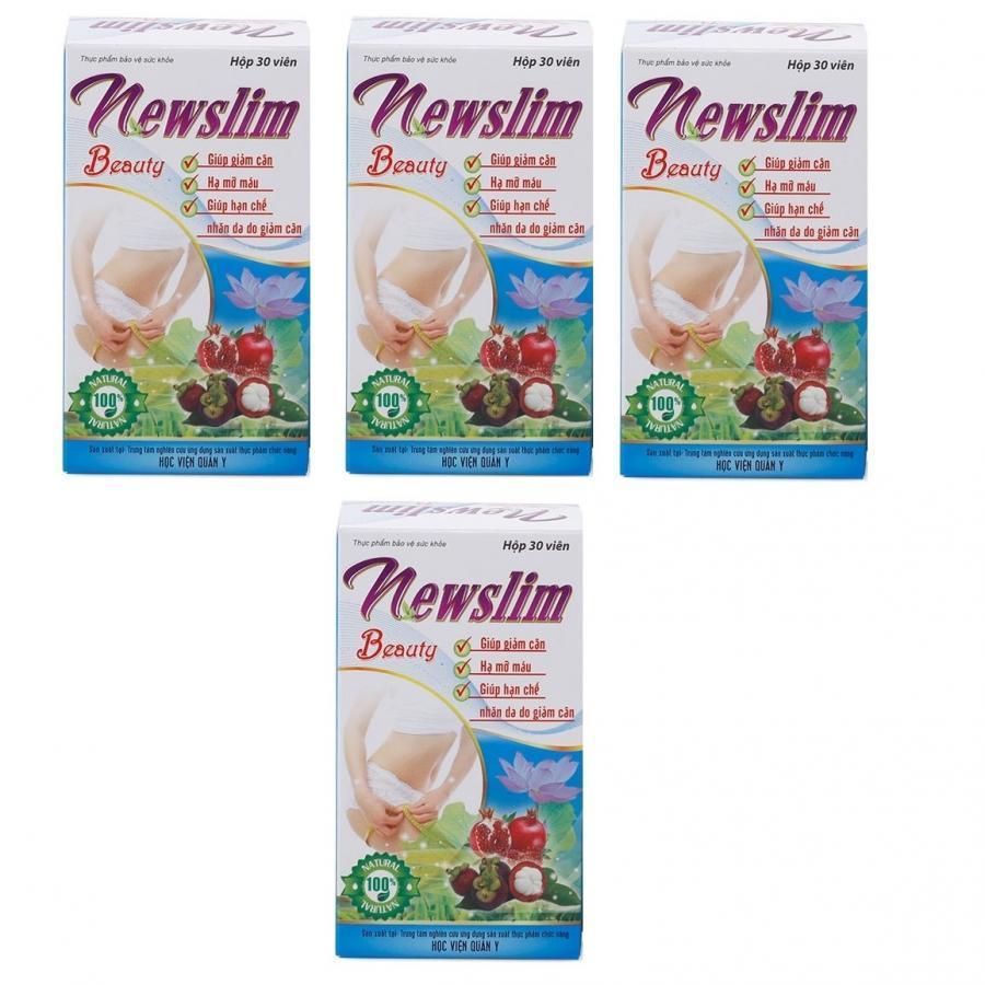 Bộ 4 hộp thực phẩm chức năng tan mỡ giảm béo đẹp da Newslim Beauty Học viện quân y Việt nam (30 viên/ hộp)- HÀNG...
