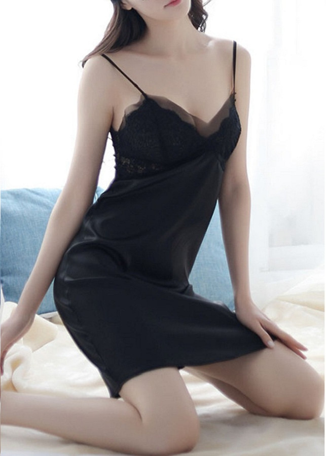 Váy ngủ  không nhăn có đệm ngực chất phi lụa sang chảnh dành cho bạn gái (SEXY CÓ ĐỆM NGỰC)