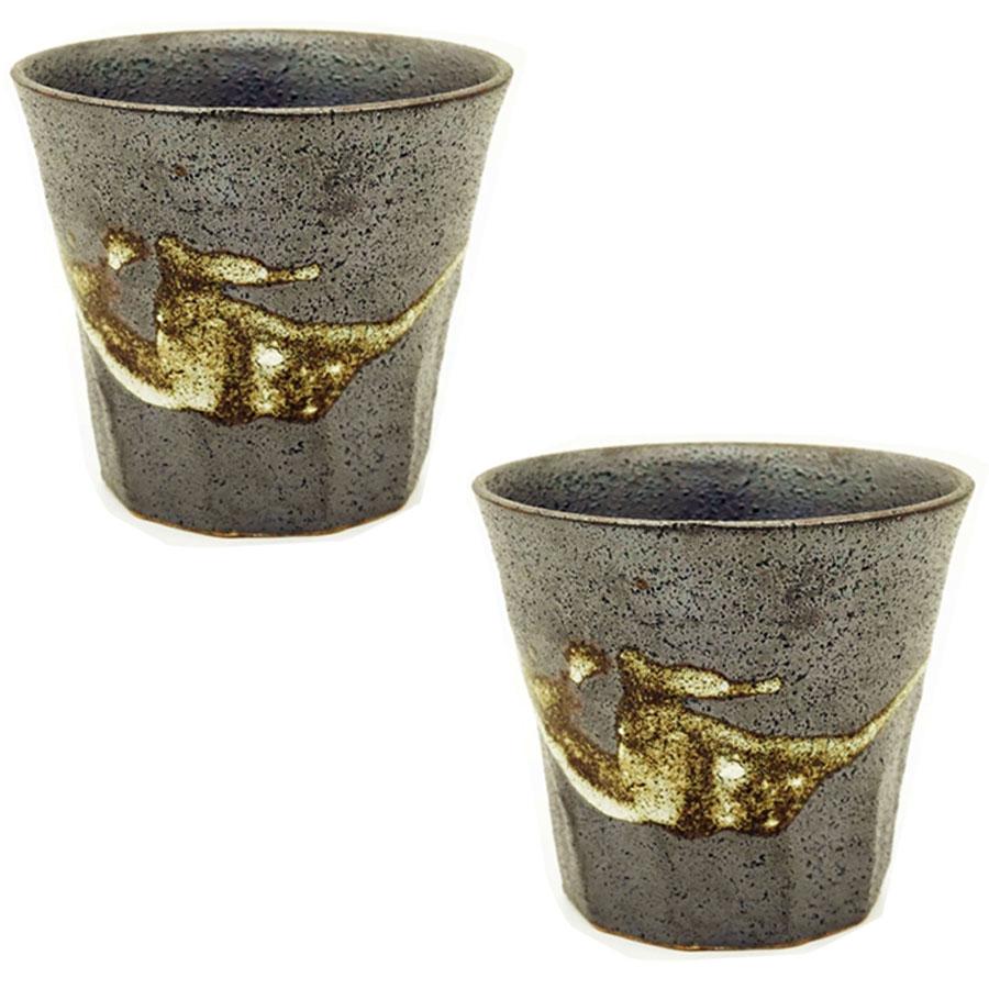 Bộ 2 cốc uống men sần họa tiết cổ xưa - Hàng nội địa Nhật