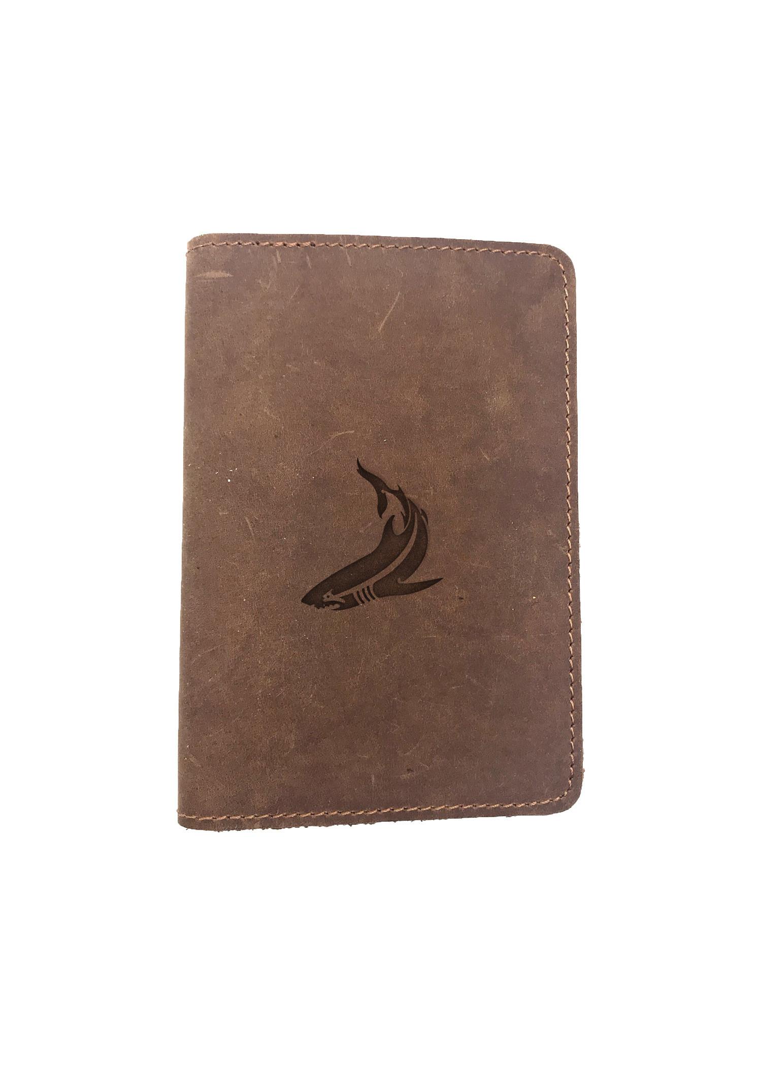 Passport Cover Bao Da Hộ Chiếu Da Sáp Khắc Hình Cá mập SHARK STENCIL ART (BROWN)