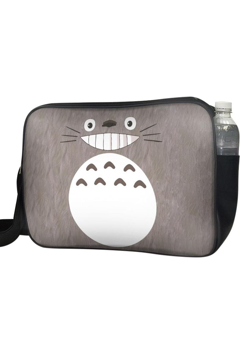 Túi Đeo Chéo Hộp Unisex In Hình Totoro Nâu Mặt Cười - TCMA224