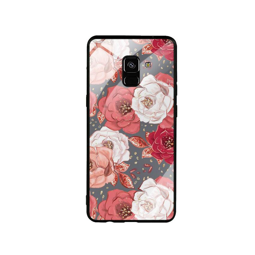 Ốp Lưng Kính Cường Lực cho điện thoại Samsung Galaxy A8 Plus -  0331 ROSE04