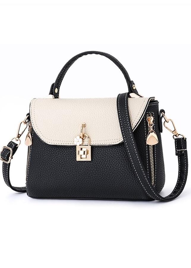 Túi xách tay nữ / túi đeo chéo phối màu khóa cạnh thời trang cao cấp LALA