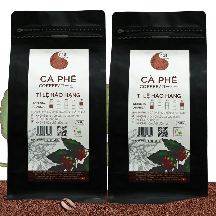 Combo 2 gói Cà phê bột nguyên chất 100% Tỉ lệ Hảo Hạng - 10% Robusta + 90% Arabica - Light coffee - gói 500g