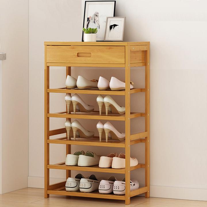 Kệ để giày gỗ tre cao cấp 5 tầng có ngăn tủ trên kt 50x25x88cm RE0410
