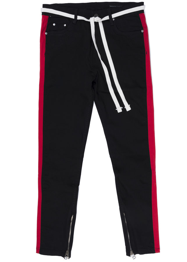 Quần nam RED STRIPES SKINNY JEANS IN BLACK WITH ZIPS
