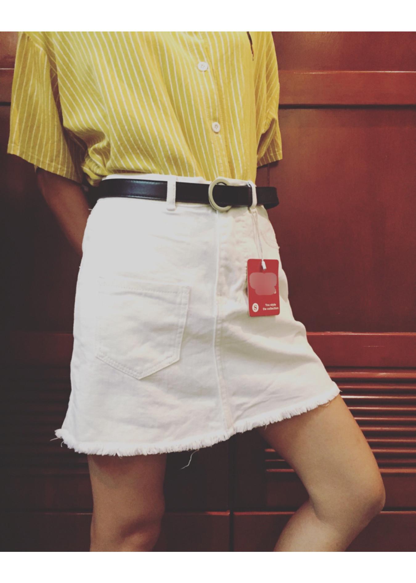 Chân Váy Jean Trơn Đen-Trắng