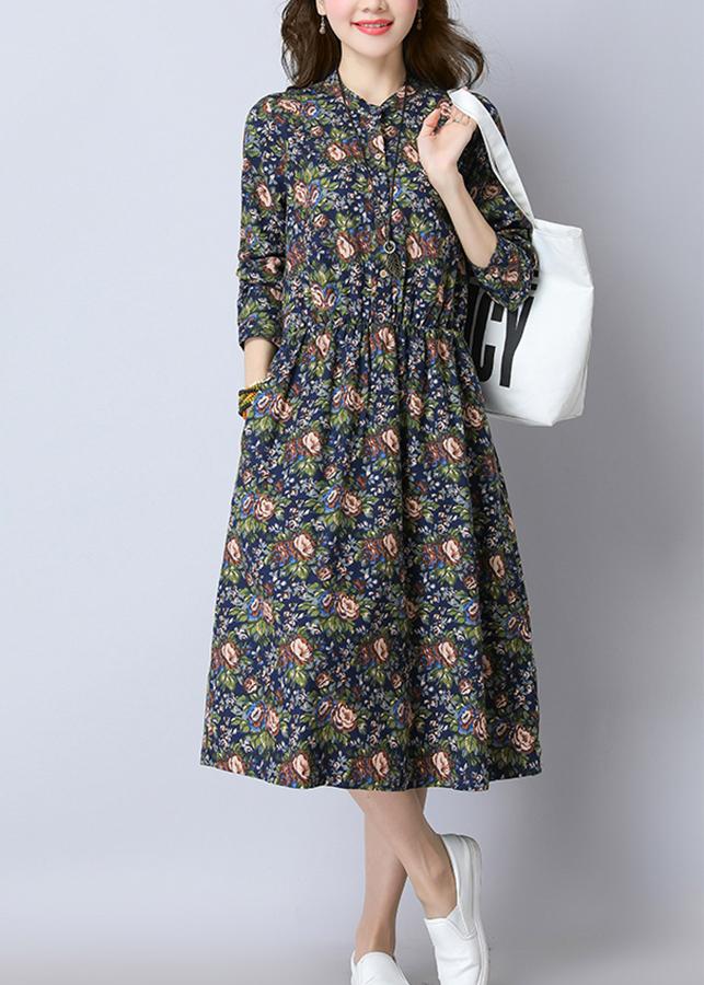 2317708856937 - Đầm nữ hoa lá cổ trụ, đầm trung niên, đầm công sở Da28