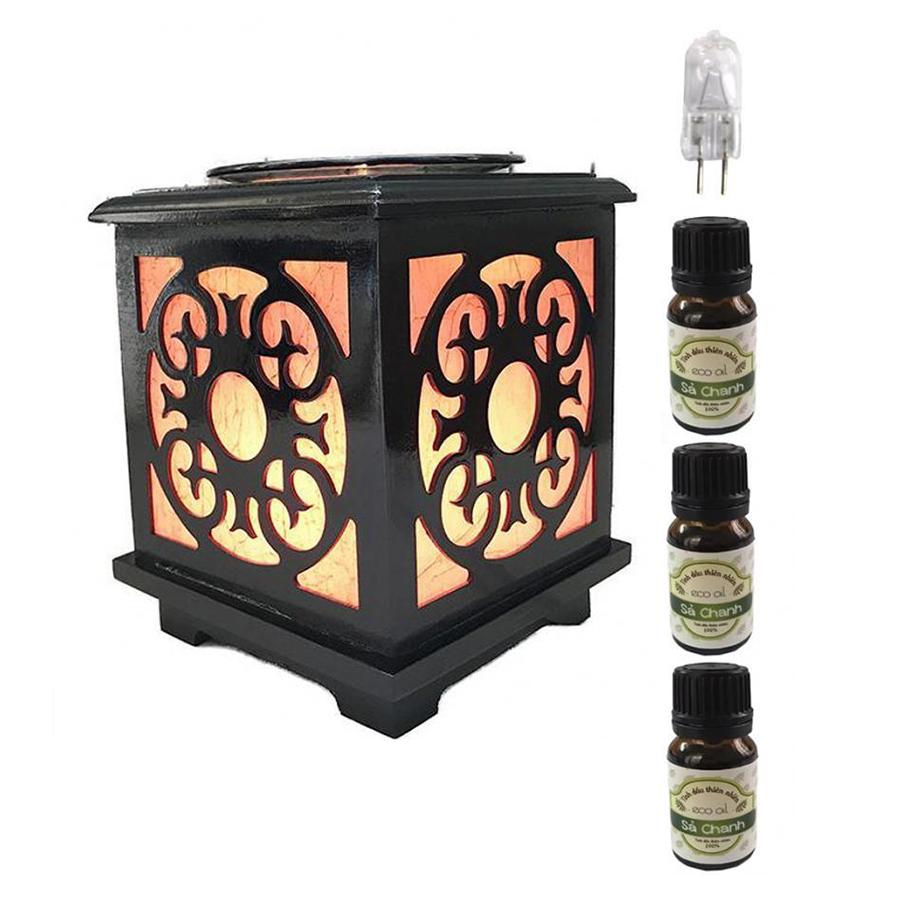 Đèn xông tinh dầu gỗ vuông AH43 và 3 tinh dầu sả chanh Eco 10ml và 1 bóng đèn