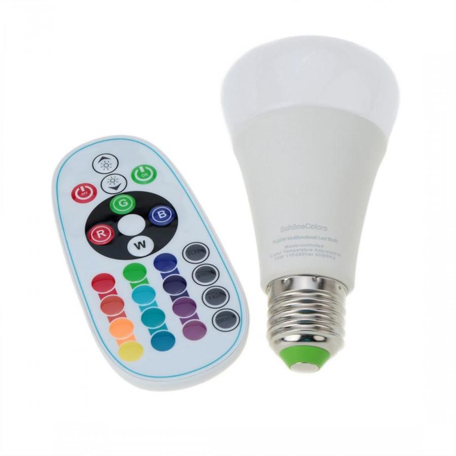 E27 10W 110-240V Ac Rgbw Color Led Bulb Stage Light Remote Control Color Brightness Adjustable Home Interior Decoration Lighting Ce