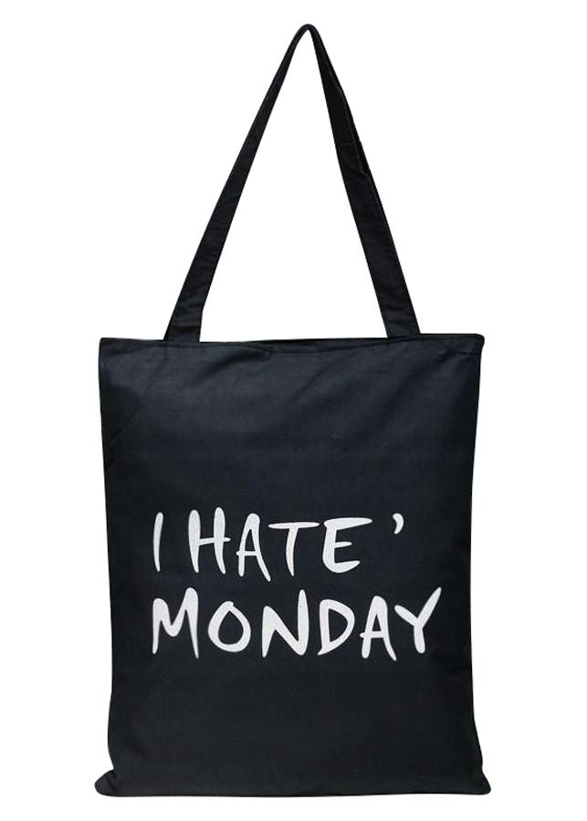 """Túi Tote Vải Canvas In Chữ """"I Hate Monday"""" T026-E - 1243477 , 8152030887068 , 62_7947434 , 150000 , Tui-Tote-Vai-Canvas-In-Chu-I-Hate-Monday-T026-E-62_7947434 , tiki.vn , Túi Tote Vải Canvas In Chữ """"I Hate Monday"""" T026-E"""