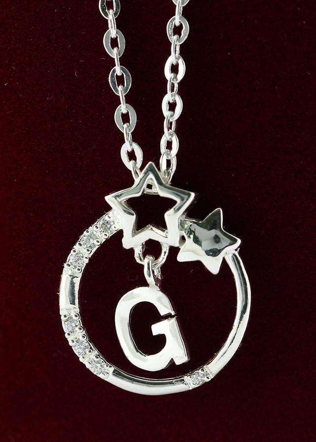 Dây chuyền bạc nữ mặt trăng sao khắc tên chữ G DCN0286 -Trang Sức TNJ