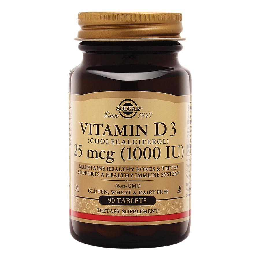 Thực Phẩm Bảo Vệ Sức Khỏe Solgar Vitamin D3 1000 IU (90 Viên Nén)