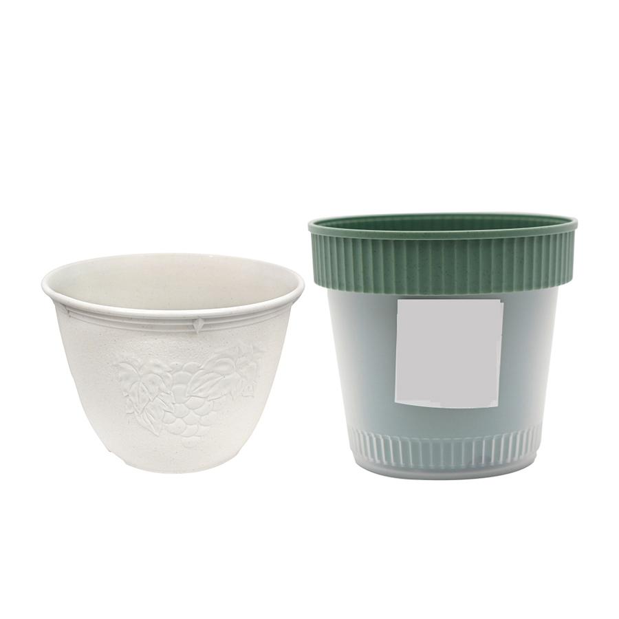 Combo Chậu trồng cây 2 lớp màu xanh + Chậu hoa tròn màu trắng 15cm nội địa Nhật Bản