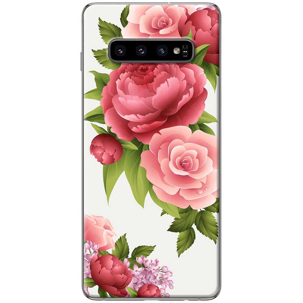 Ốp lưng  dành cho Samsung Galaxy S10 mẫu Hoa hồng đỏ nền trắng