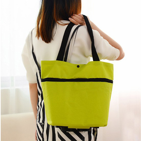 Travel Portable Oxford Foldable Reusable Shopping Bag On Wheels Handbag 2018