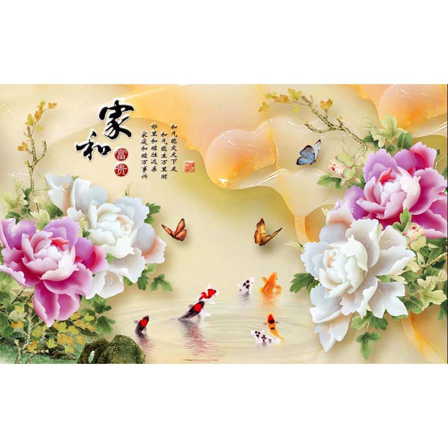 Tranh dán tường 3d | Tranh dán tường phong thủy hoa sen cá chép 3d 300