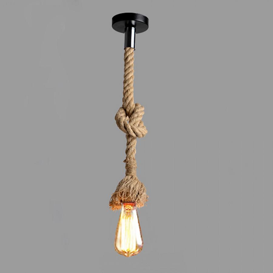 Lixada 100cm AC110V E26/E27 Single Head Vintage Hemp Rope Hanging Pendant Ceiling Light Lamp Industrial Retro Country