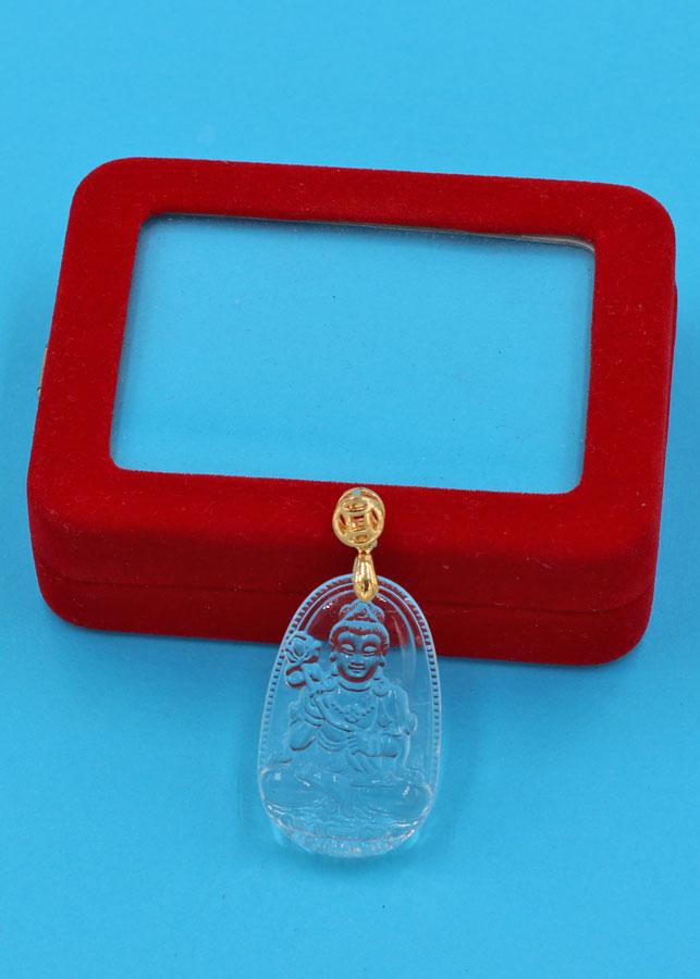 Mặt Phật Đại Thế Chí Bồ Tát thủy tinh trong 3.6 cm MFBTT4 kèm hộp nhung