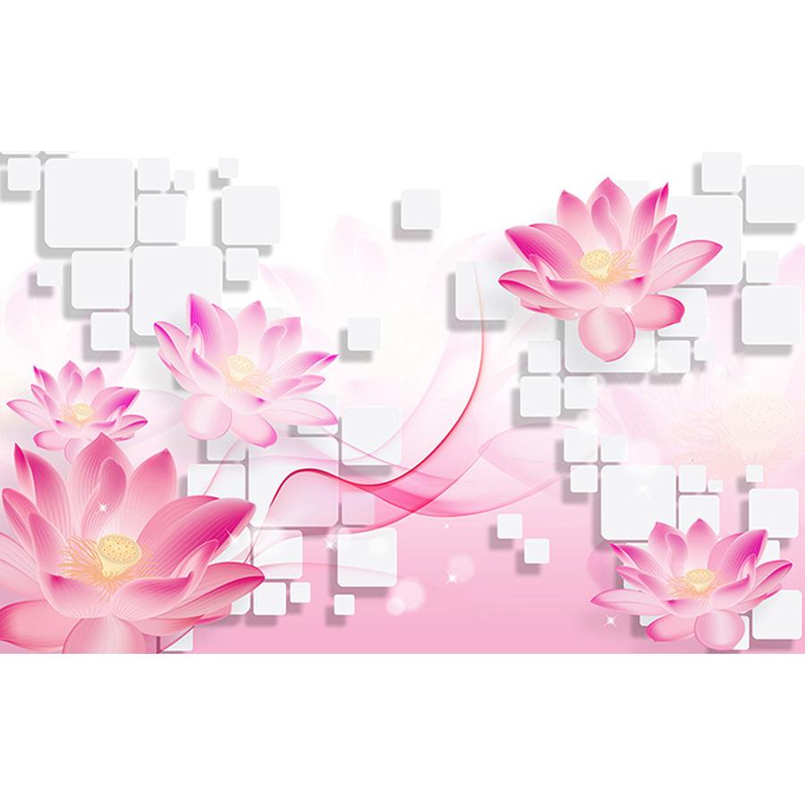 Tranh dán tường 3d | Tranh dán tường phong thủy hoa sen cá chép 3d 121
