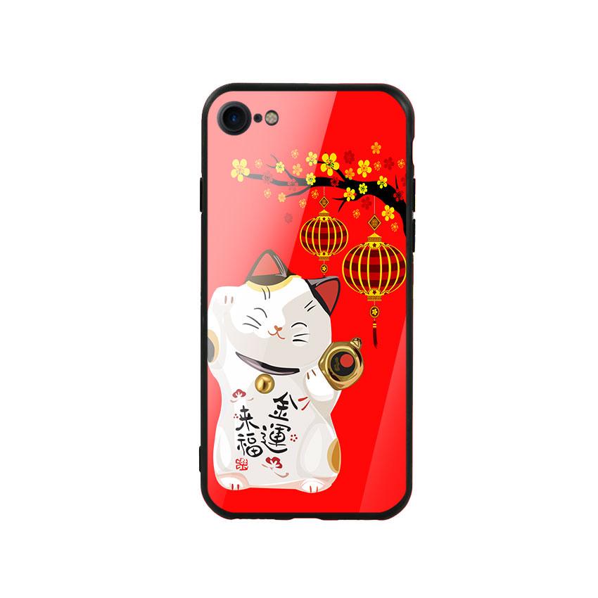 Ốp lưng kính cường lực cho điện thoại Iphone 7/8 - Mèo May Mắn